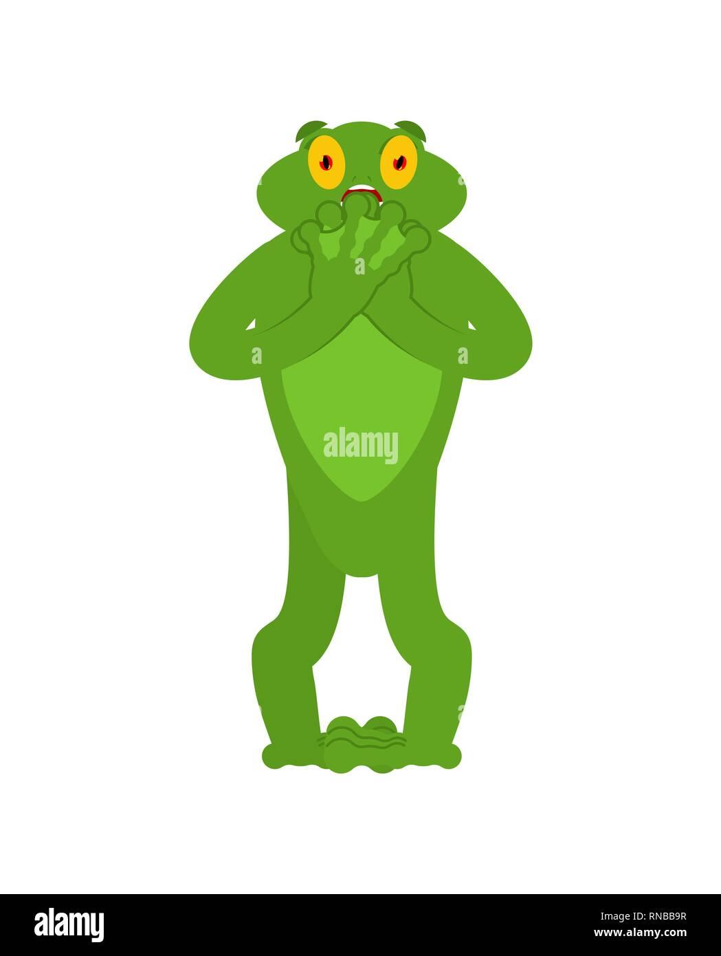 J'avais peur de la grenouille l'émotion. Toad emoji Oh mon Dieu. Peur Anoure. Vector illustration Illustration de Vecteur