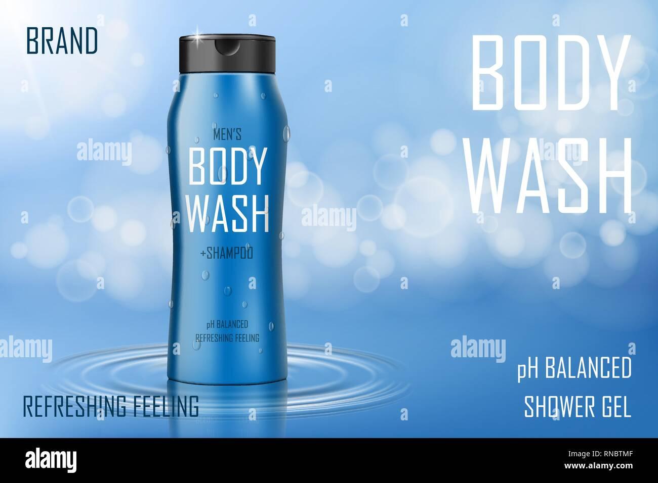 Gel nettoyant pour le corps de refroidissement d'humidité ad. Le corps réaliste ou bouteille de shampoing. Soins de la peau pour la conception de produits d'emballage affiche ou bannière. 3D de vecteur Photo Stock
