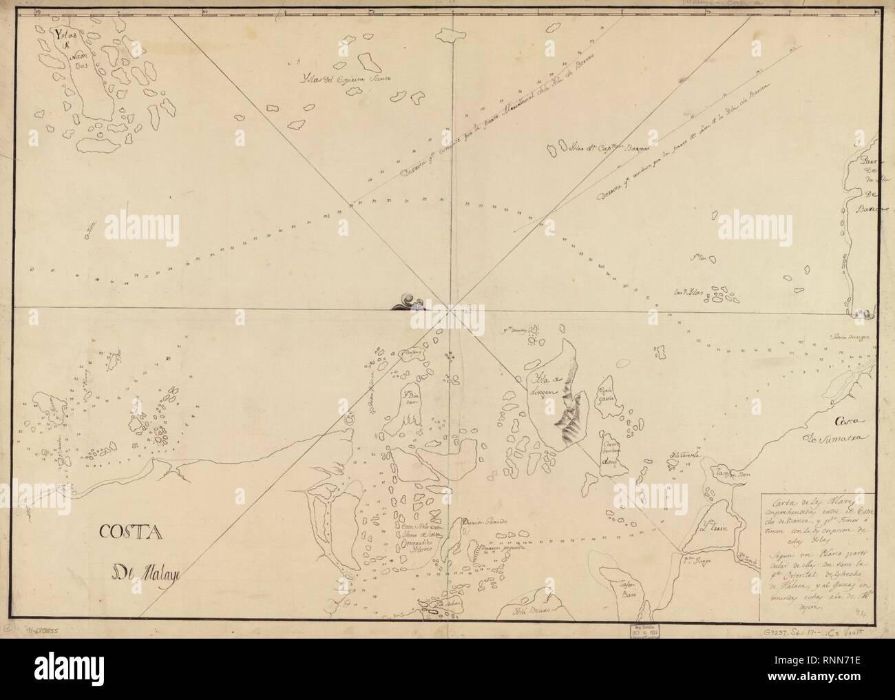 Carta de las mares conprehendidas entre el Estrecho de Banca y la prise de force. Timor oriental o Timon con la descripción de estas yslas segun un plano de particulier mas contiene la pte. oriental de Estrecho de Malaca y Banque D'Images