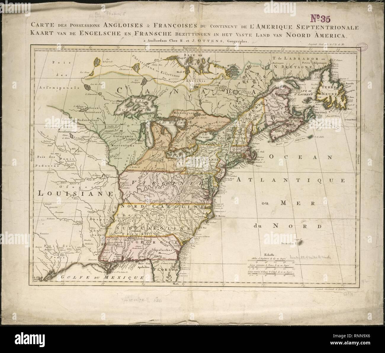 Carte des possessions angloises et françoises du continent de l'Amérique septentrionale = Kaart van de Engelsche Fransche en bezittingen in het vaste land van Noord Amérique (4231921980). Photo Stock