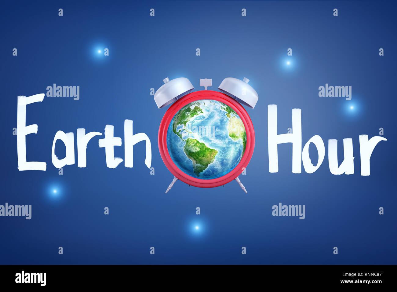 Le rendu 3D d'un réveil avec la planète terre au lieu de l'horloge-face avec le titre 'Earth Hour'. Passez au vert et se soucient de l'environnement. Des études Banque D'Images