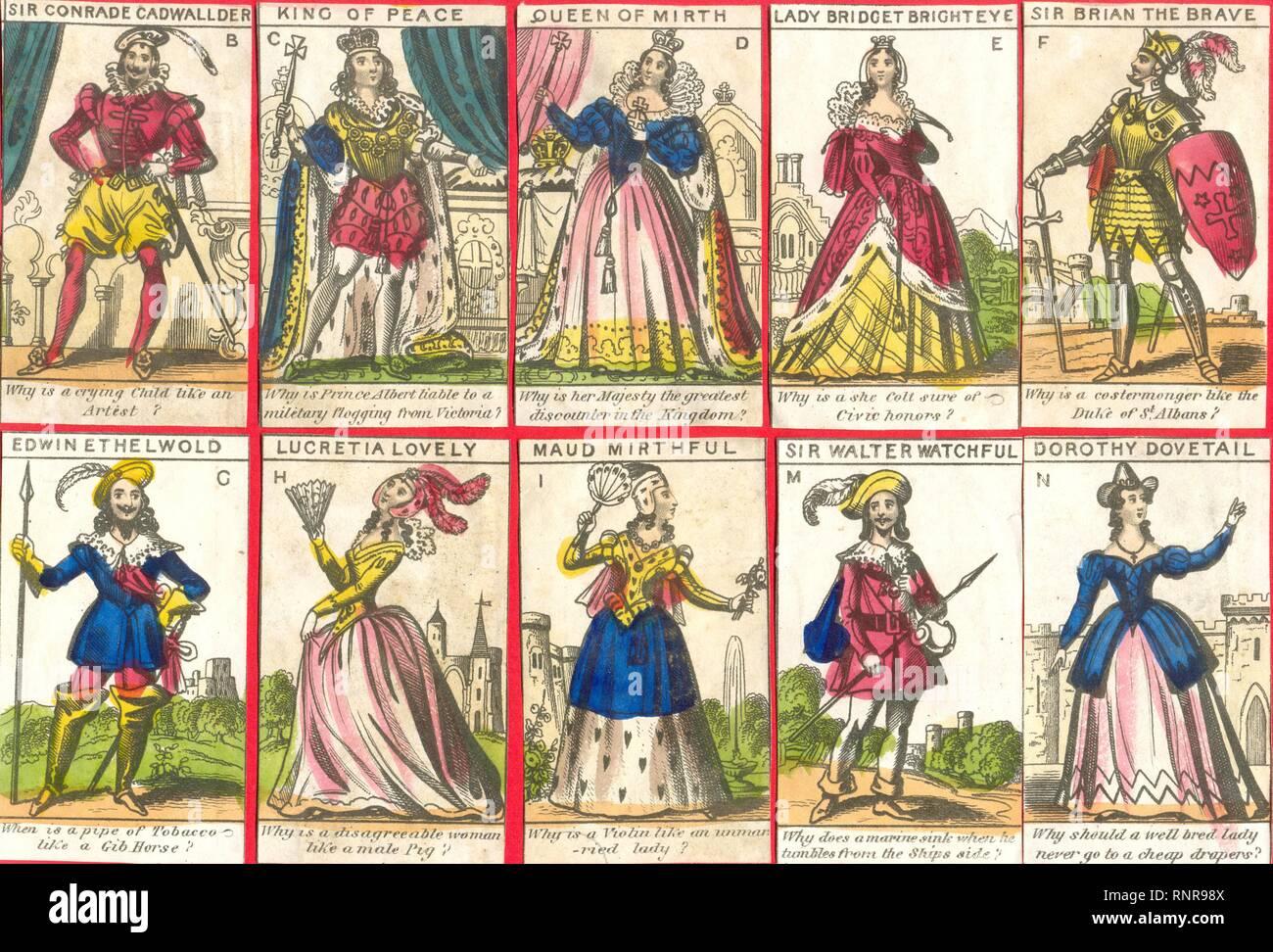 Sélection de découper la Douzième Nuit Personnages 1845 Photo Stock