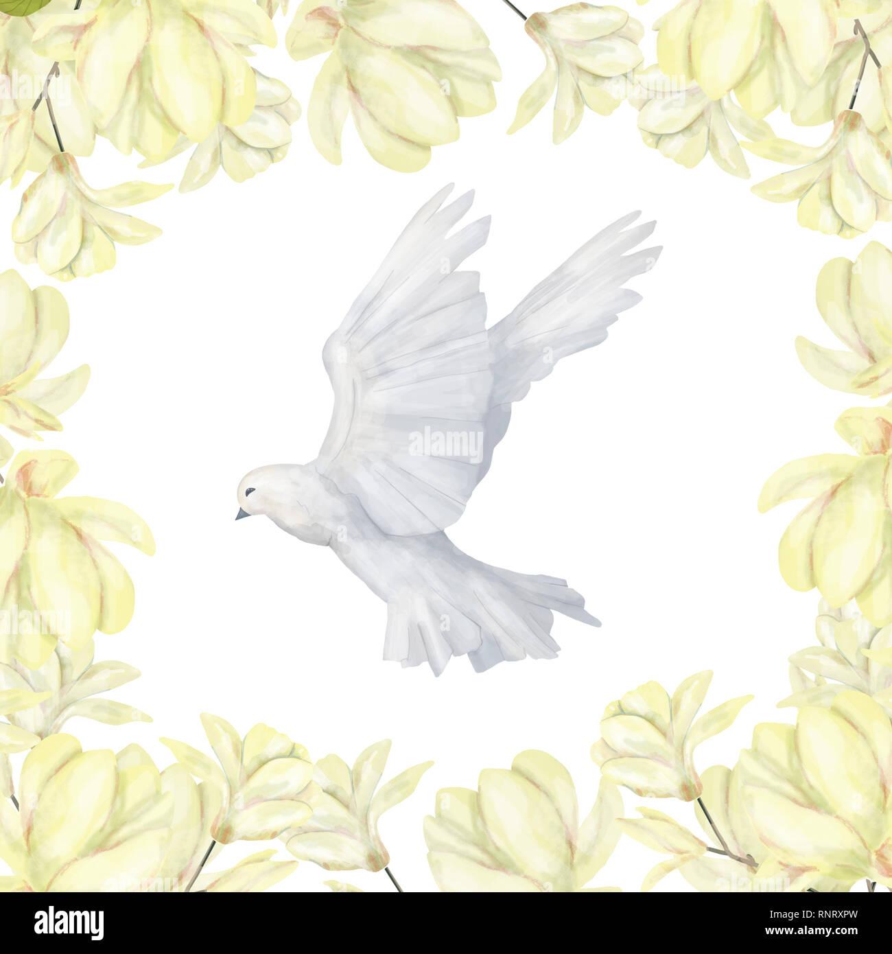 Invitation De Mariage Floral Inviter Card Colombe De La Paix Et