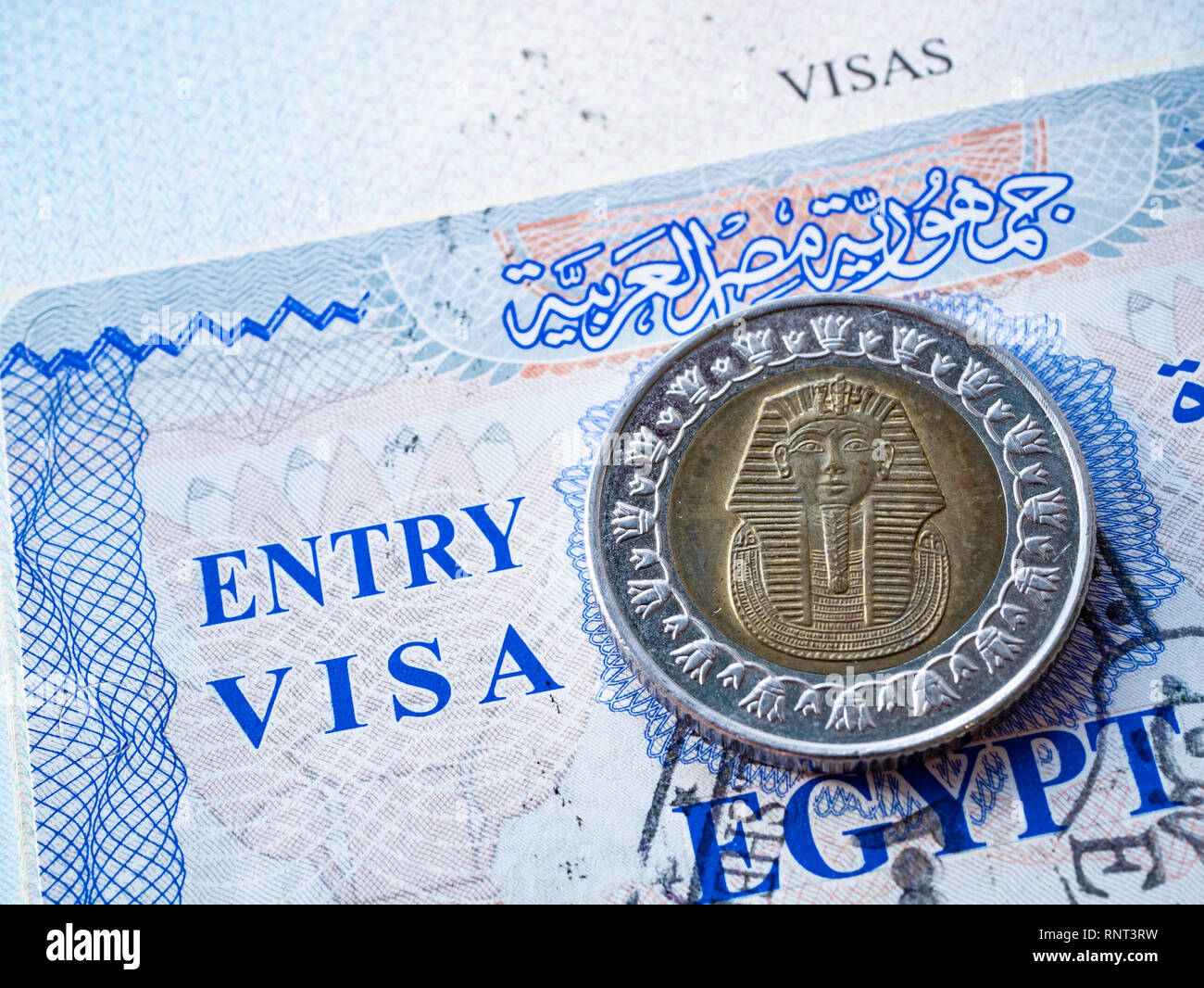 Close Up De L Egypte En Visa Passeport Etranger Avec Piece