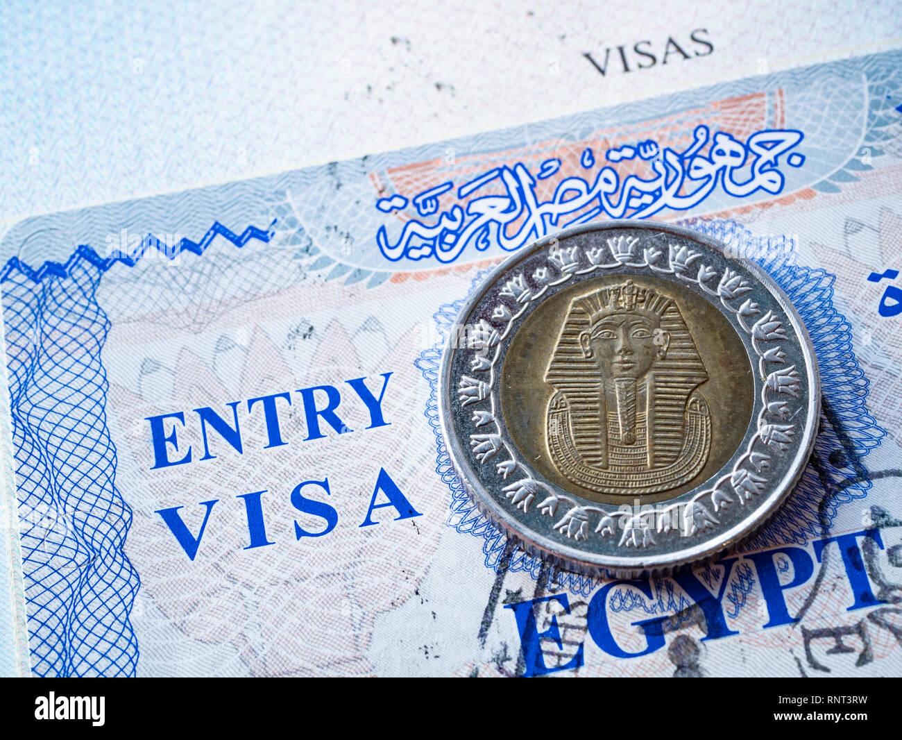 Close Up De L Egypte En Visa Passeport Etranger Avec Piece
