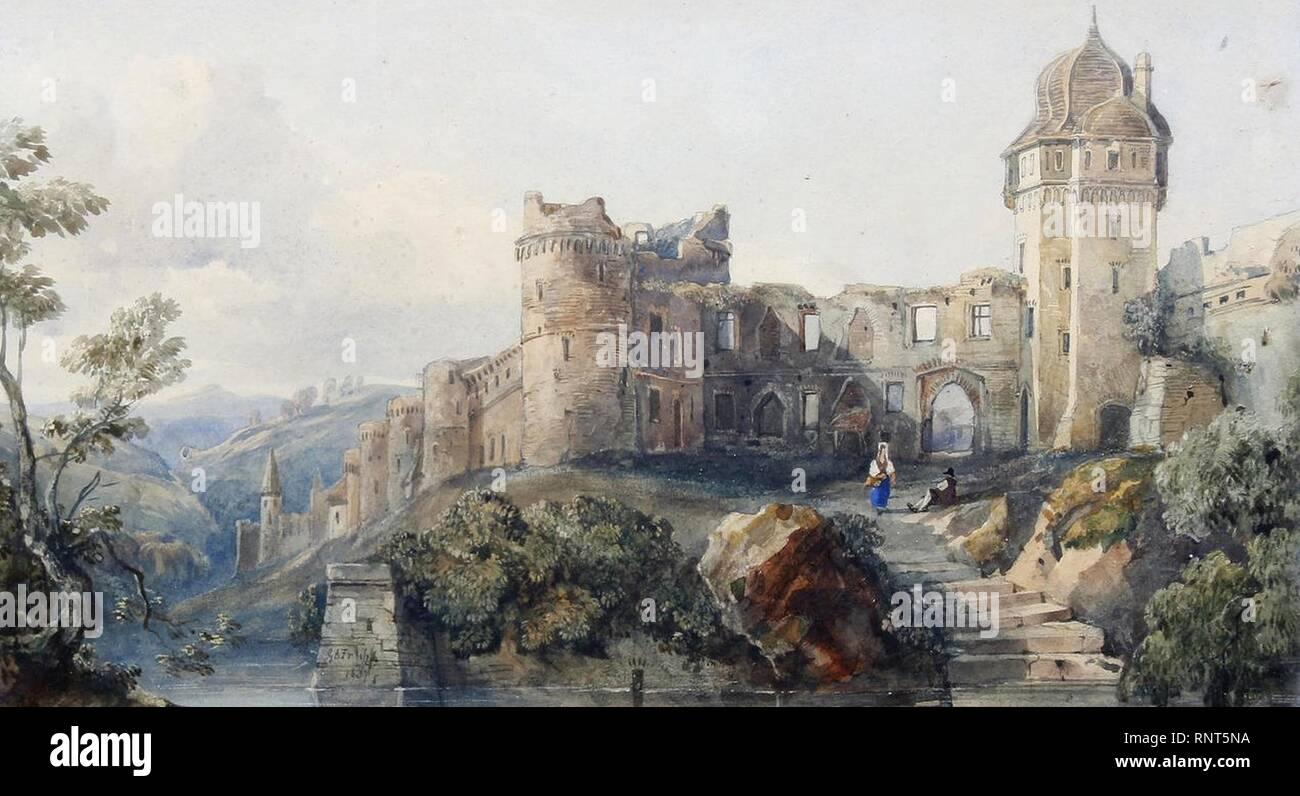 Ruines du château par une rivière par George Arthur Fripp. Photo Stock