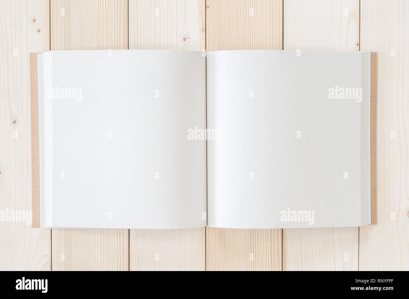 Vide poche ouverte livre square-size, catalogue, brochure, magazine modèle maquette note paper texture copyspace sur bois de pin blanc 24 Tableau Photo Stock