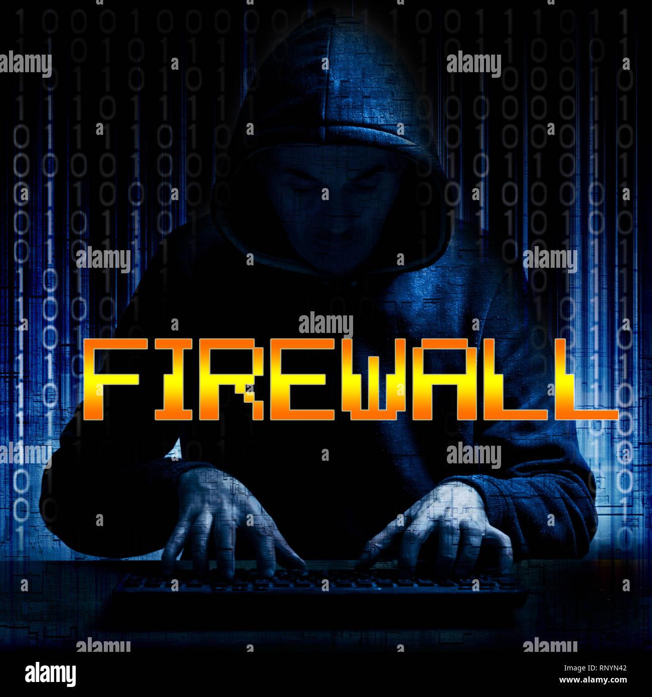 Concept pour un hacker ou criminel d'essayer de briser un pare-feu logiciel Photo Stock