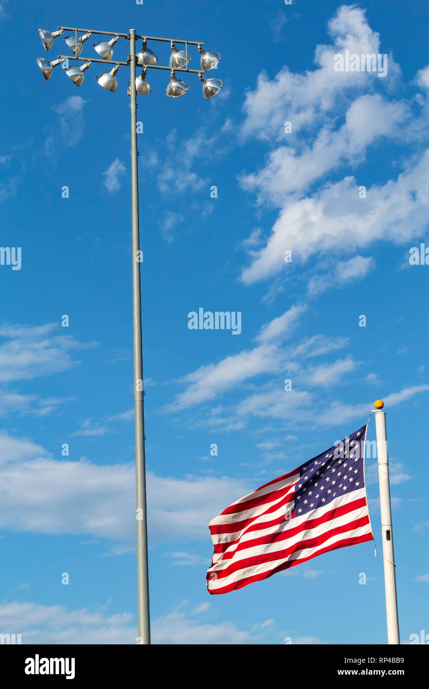 Flag Pole & Light Pole Photo Stock