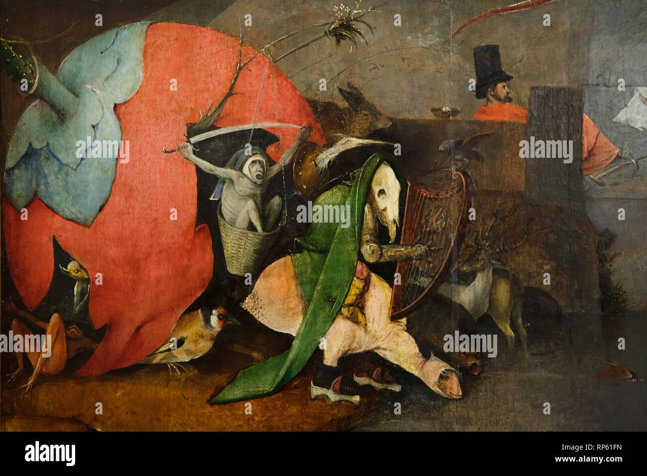 """Détail de l'autel le triptyque """"La Tentation de Saint Antoine"""" par Dutch peintre Jérôme Bosch (1490-1500) sur l'affichage dans le Musée National d'Art Ancien (Museu Nacional de Arte Antiga) à Lisbonne, Portugal. Photo Stock"""