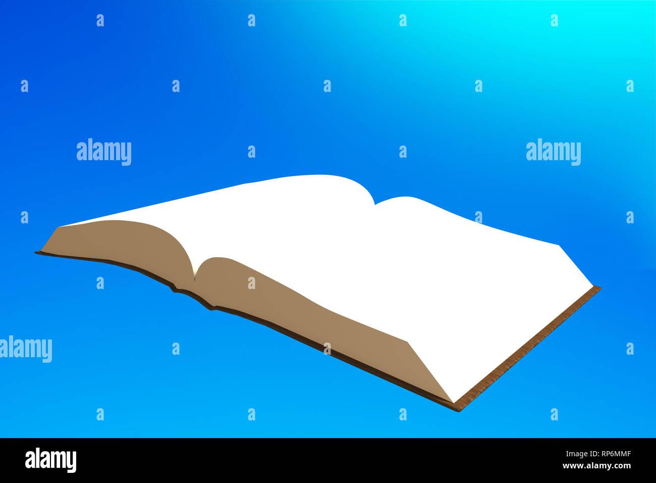 Livre Volant Dans Le Ciel Bleu 3d Illustration Banque D