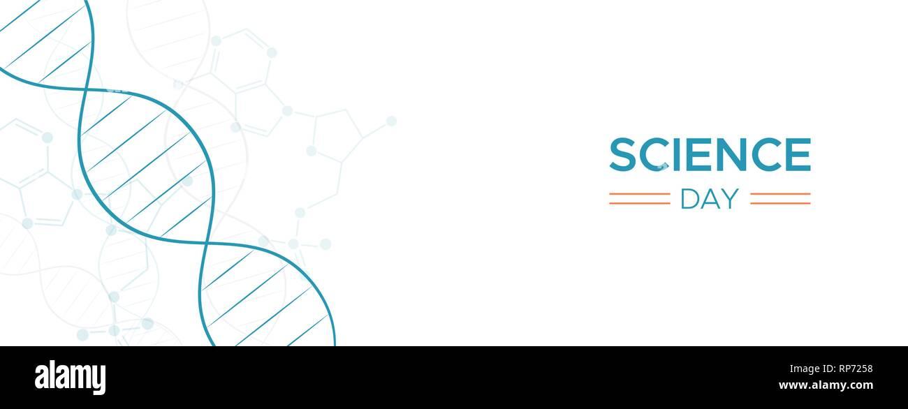 Journée scientifique de l'arrière-plan l'illustration de la bannière web abrégé ADN molécule pour la recherche, de la biochimie et de l'enseignement médical. Photo Stock
