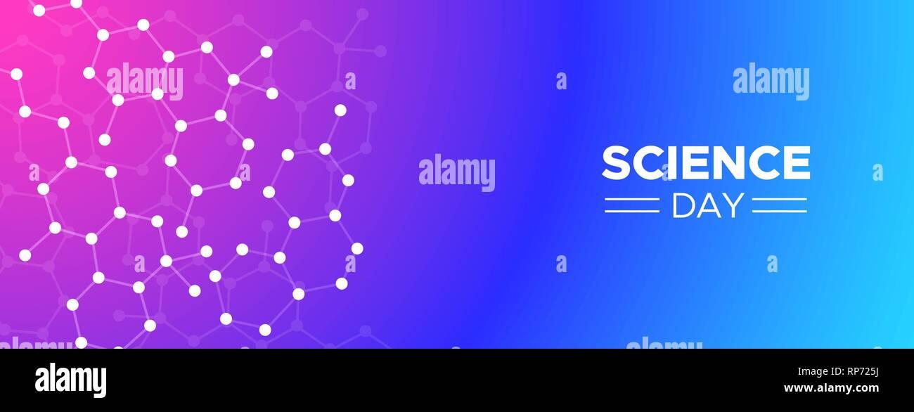 Journée scientifique de l'arrière-plan l'illustration de la bannière web conception géométrique abstraite pour la recherche et l'éducation concept. Photo Stock
