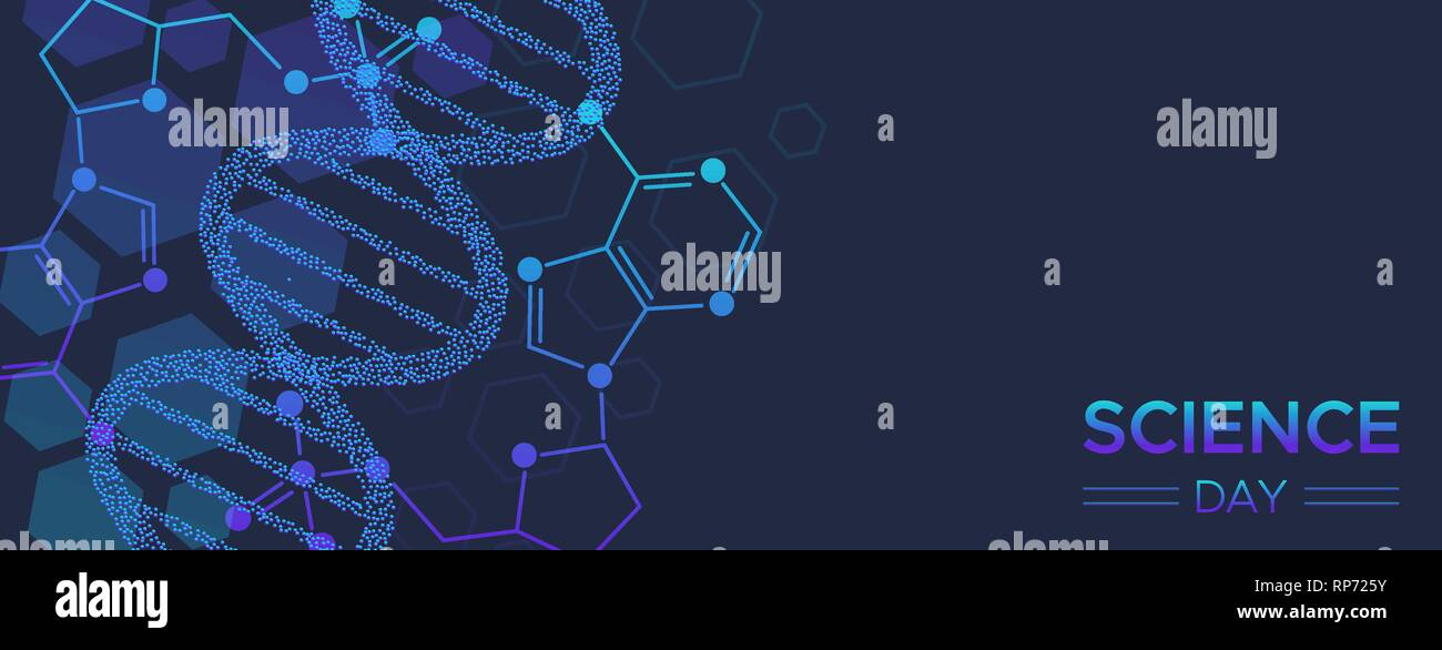 Journée scientifique de l'illustration de la bannière web abstract brin d'ADN pour la recherche et l'éducation. Photo Stock