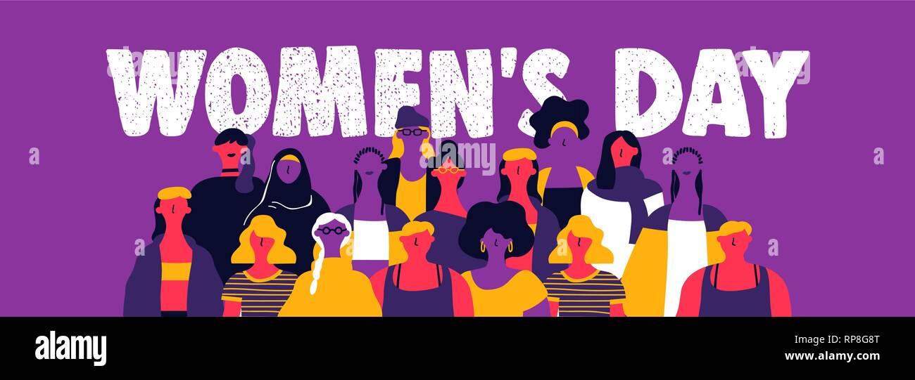 Heureux jour femmes illustration bannière web. La diversité de la culture moderne en groupe femme style art urbain. Les femmes puissantes concept pour protester, mars ou l'égalité de ri Photo Stock