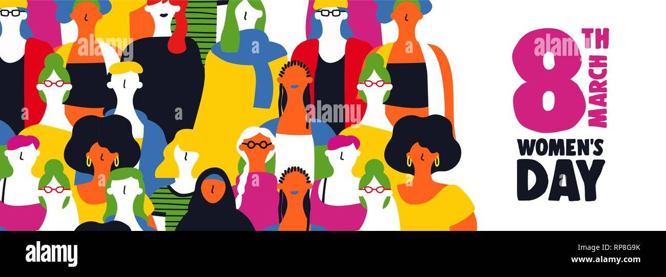 Heureux jour femmes illustration bannière web pour le 8 mars prochain. Femme de couleur divers ensemble de groupe sur l'égalité des droits de célébration. Photo Stock