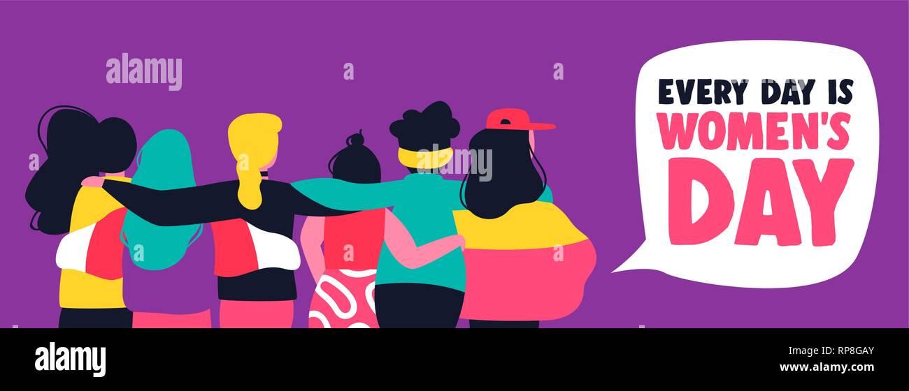 Heureux womens day illustration. Femme divers groupe ami hugging ensemble. Organisation des femmes concept pour protester, mars ou l'égalité des droits. Photo Stock