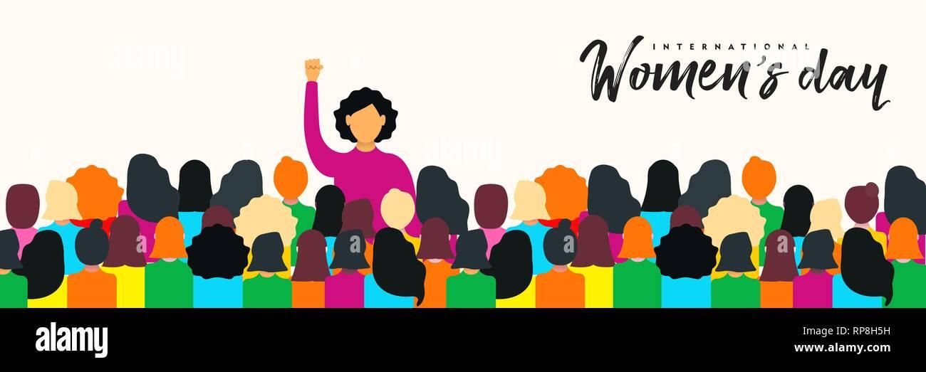 Journée de la femme 8 mars bannière web illustration pour les droits des femmes power concept. Femme divers groupe lors de manifestations pacifiques. Photo Stock