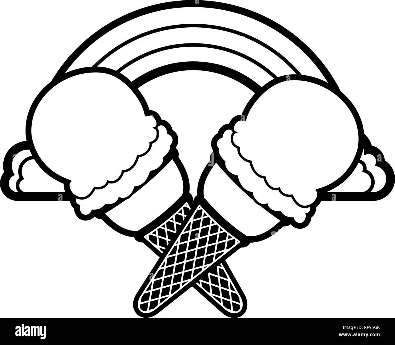 L'icône pop art de la crème glacée Illustration de Vecteur