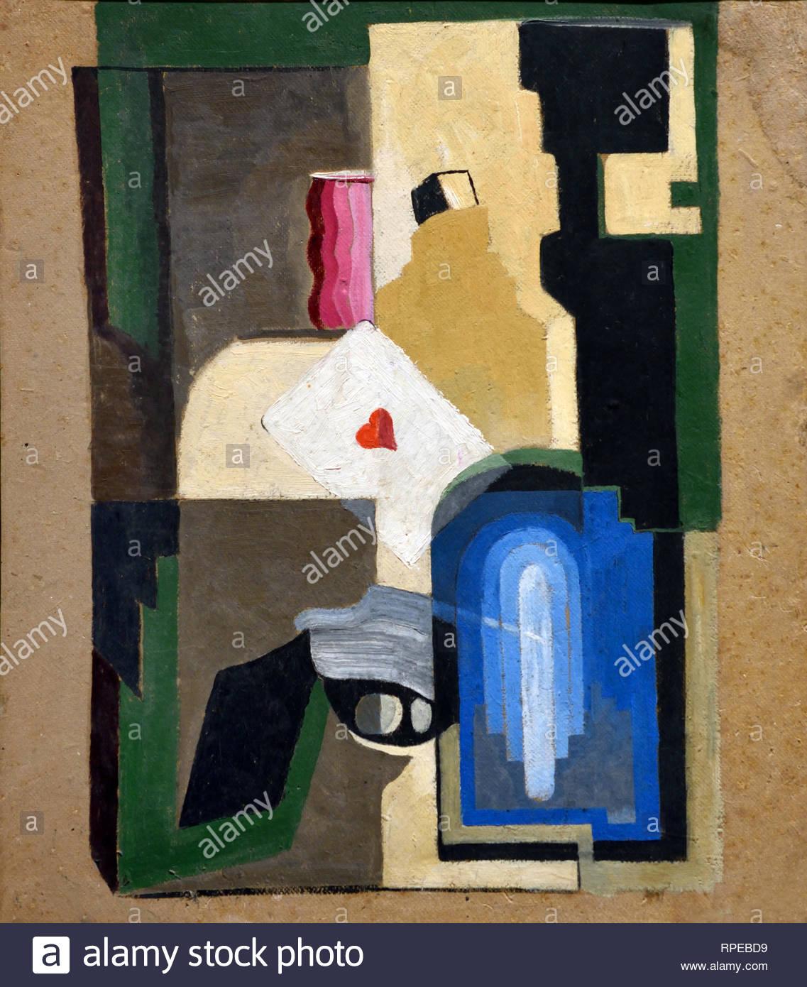 La vie toujours avec Ace of Hearts 1927 par Jose Moreno Villa Espagne Espagnol.Peintre Photo Stock
