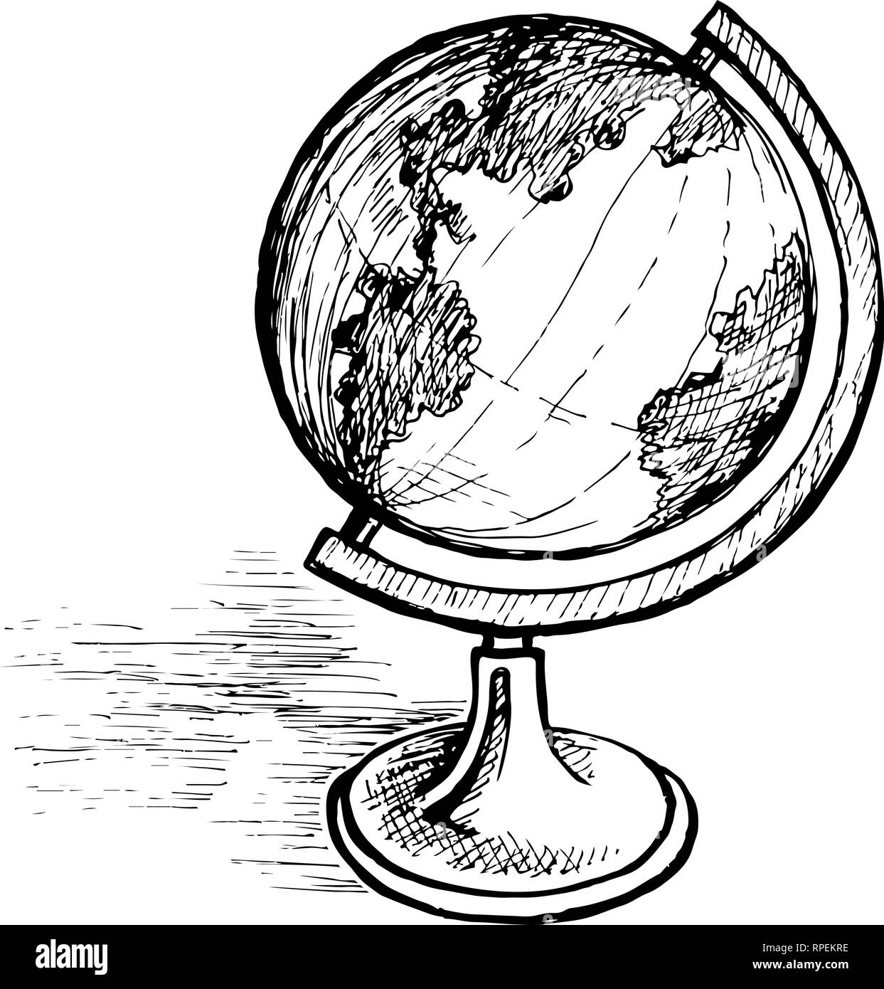 Globe sur un sketch stand Photo Stock