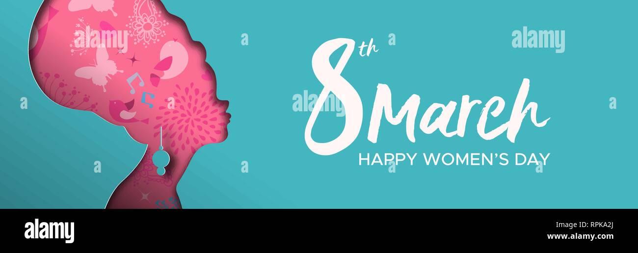 Heureux Jour Femmes illustration bannière web. Coupe papier découpe silhouette fille africaine avec le printemps et des fleurs dessinés à la main, gribouillages, femme afro pour les ri Photo Stock
