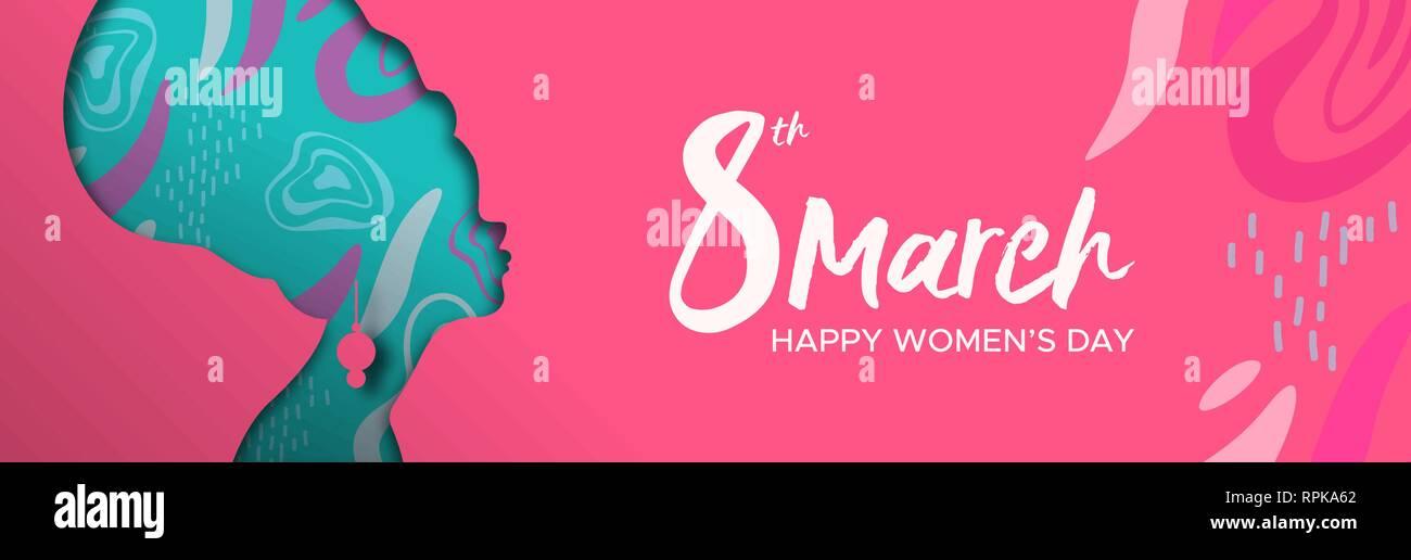 Heureux Jour Femmes illustration bannière web. Coupe papier découpe silhouette fille africaine avec turban et hand drawn doodles, afro femme pour femme homme wo Photo Stock