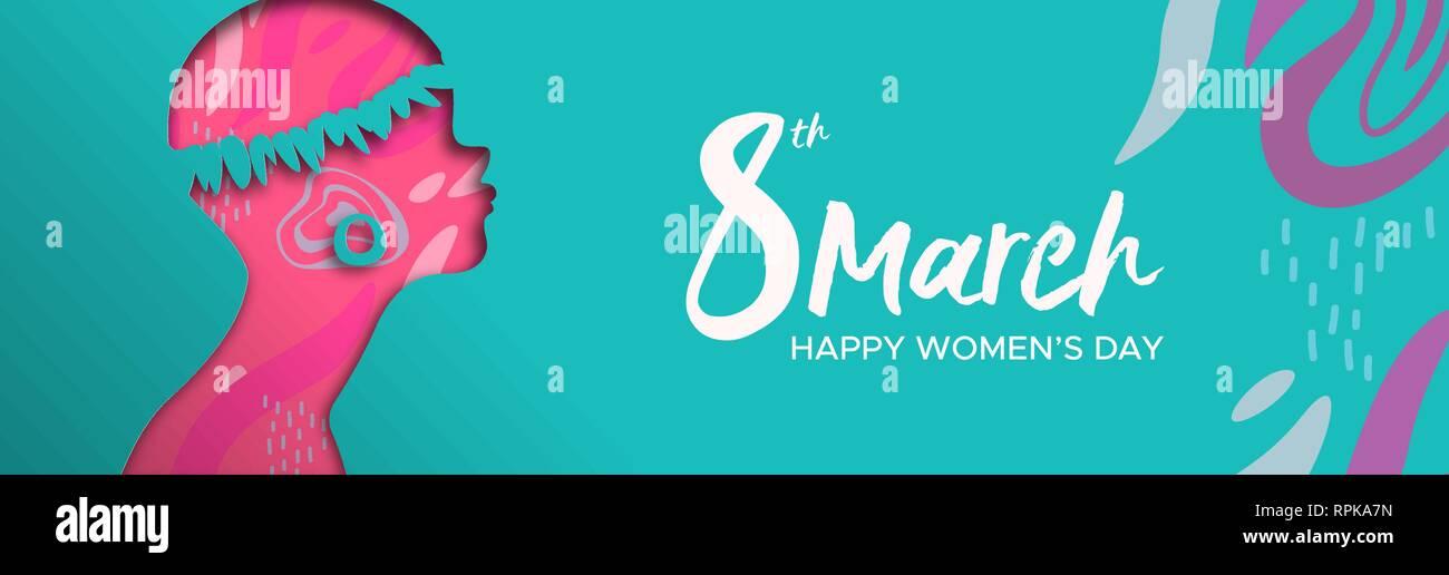 Heureux Jour Femmes illustration bannière web. Coupe papier découpe silhouette fille africaine avec bijoux tribaux et d'esquisses à la main, les populations afro femme f Photo Stock