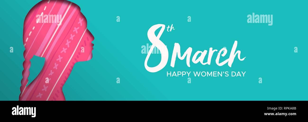 Heureux Jour Femmes illustration bannière web. Coupe papier découpe silhouette fille indienne avec tresses et décoration traditionnelle, ethnique femme pour femme Photo Stock