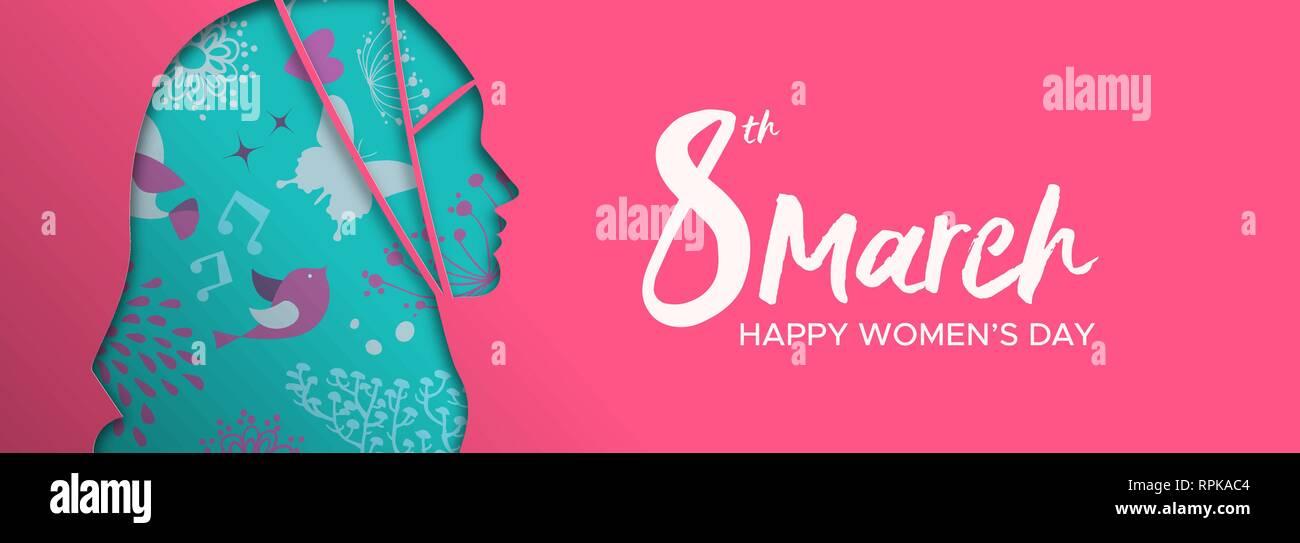Heureux Jour Femmes illustration bannière web. Coupe papier découpe silhouette fille musulmane avec hijab et dessinés à la main, fleur de printemps gribouillages, femme arabe pour la FEMA Photo Stock