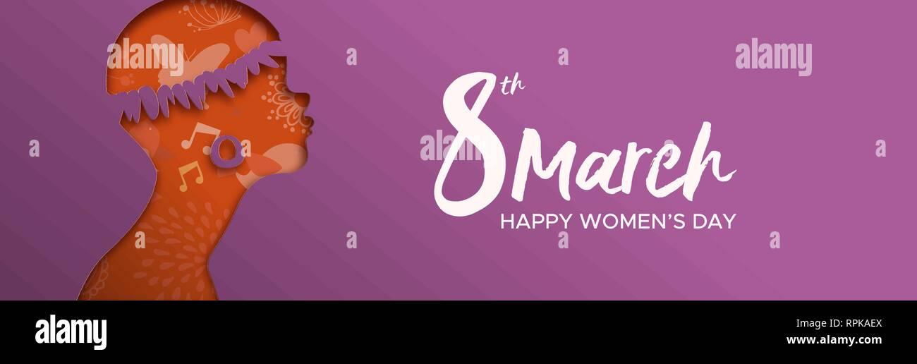 Womens Day bannière de tribu africaine femme chef Photo Stock