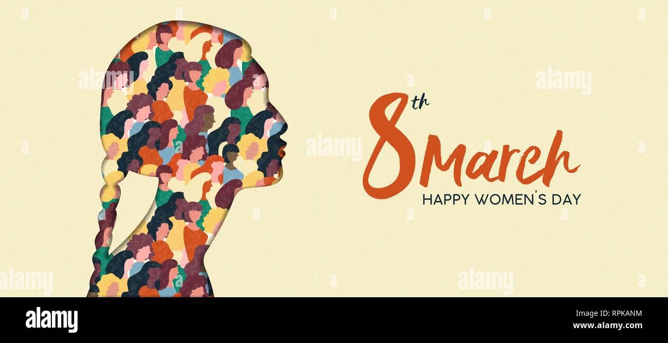 Heureux Womens Day illustration. Coupe papier indien silhouette fille avec les groupes de femmes à l'intérieur, femme foule pour l'égalité des droits ou mars protes pacifique Photo Stock