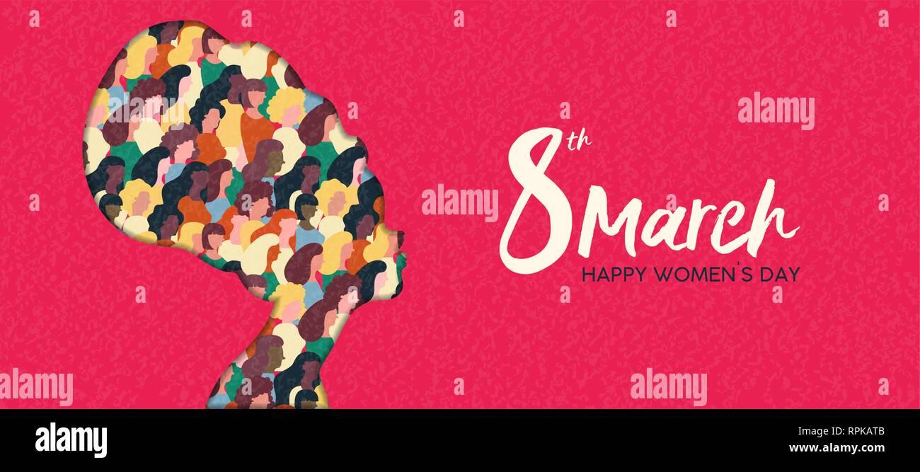 Heureux Jour Femmes illustration bannière web. Coupe papier africaine silhouette fille avec les groupes de femmes à l'intérieur, femme foule pour l'égalité des droits ou pacifique mars p Photo Stock