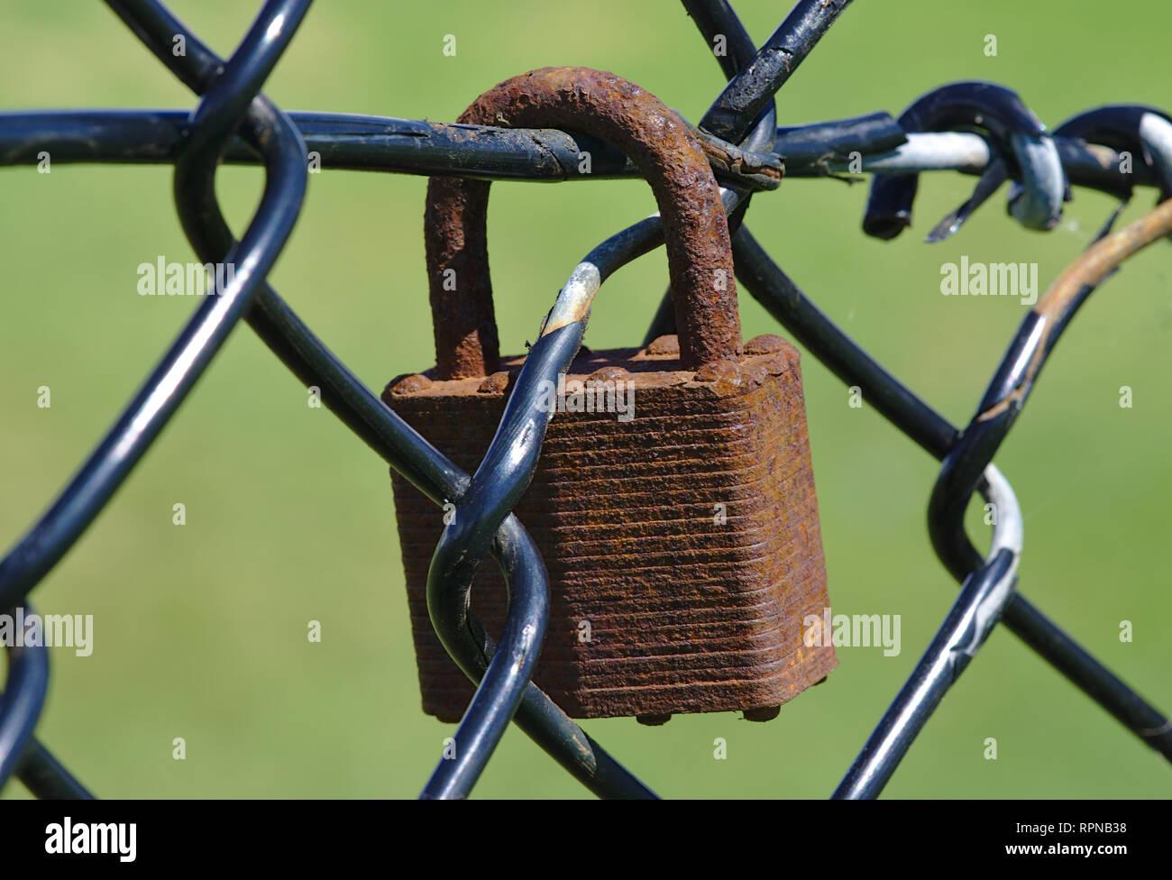 Vieux cadenas corrosif sur wire mesh fence Banque D'Images