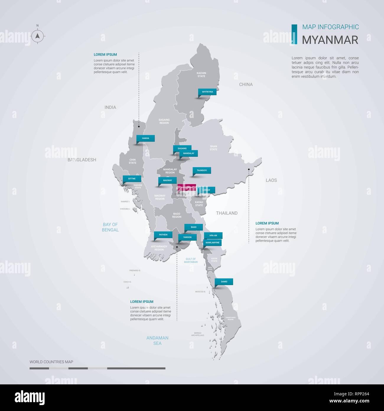 Birmanie Carte Regions.Myanmar Birmanie Carte Vectorielle Avec Elements Infographique
