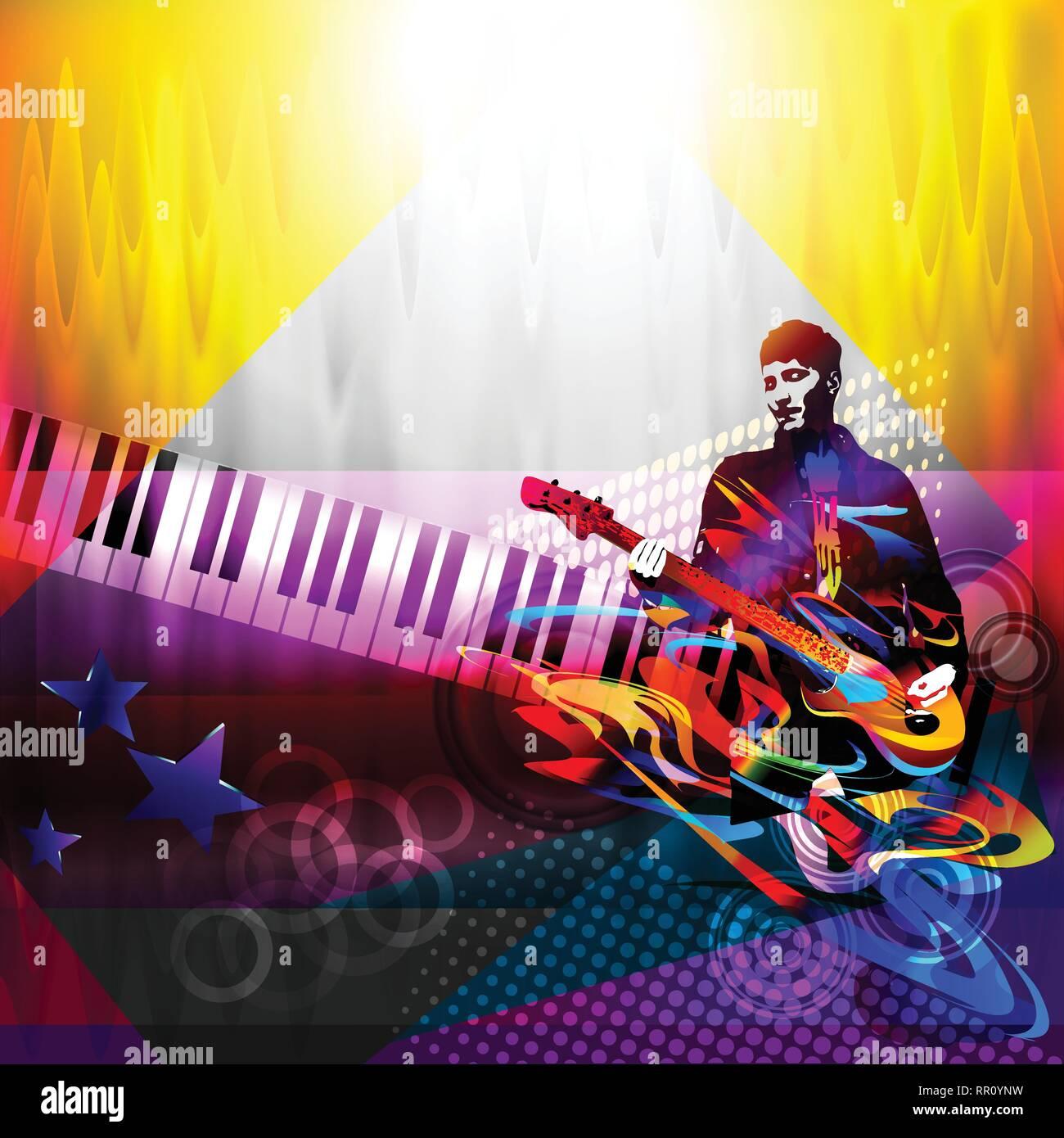 Joueur de guitare. Jazz, rock music festival Photo Stock