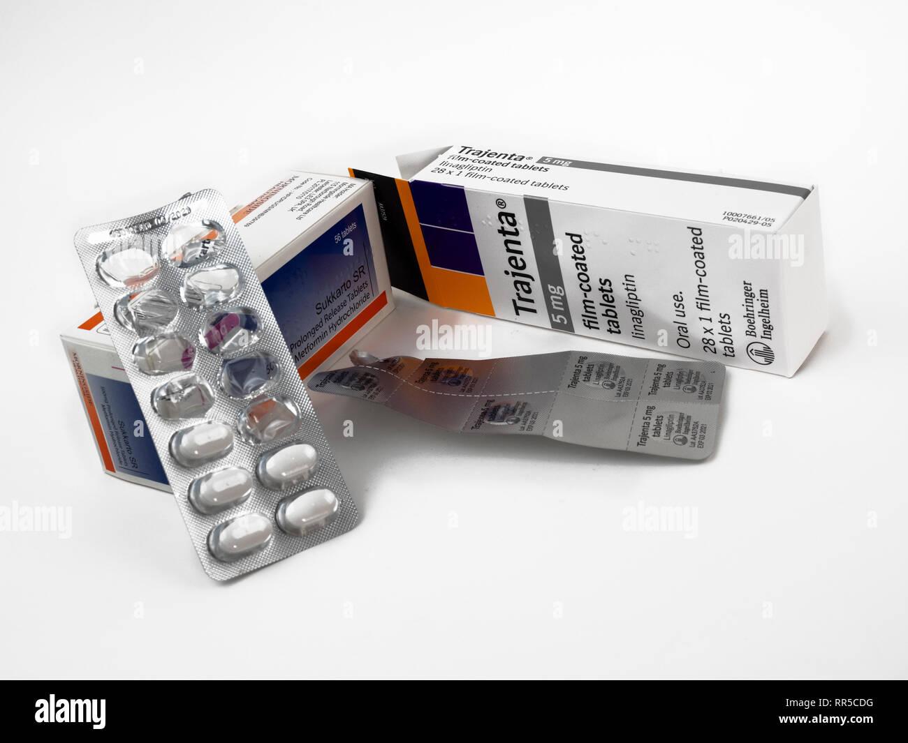 Lente, la metformine et la linagliptine (Trajenta) des médicaments pour le diabète de type 2 Photo Stock