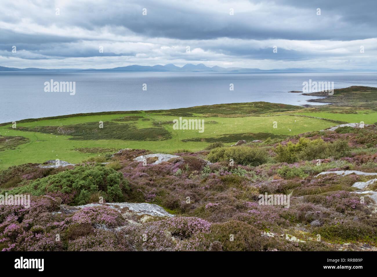 Île de Gigha, Argyll and Bute, Ecosse, UK - avec les Paps of Jura visible sur l'horizon Banque D'Images