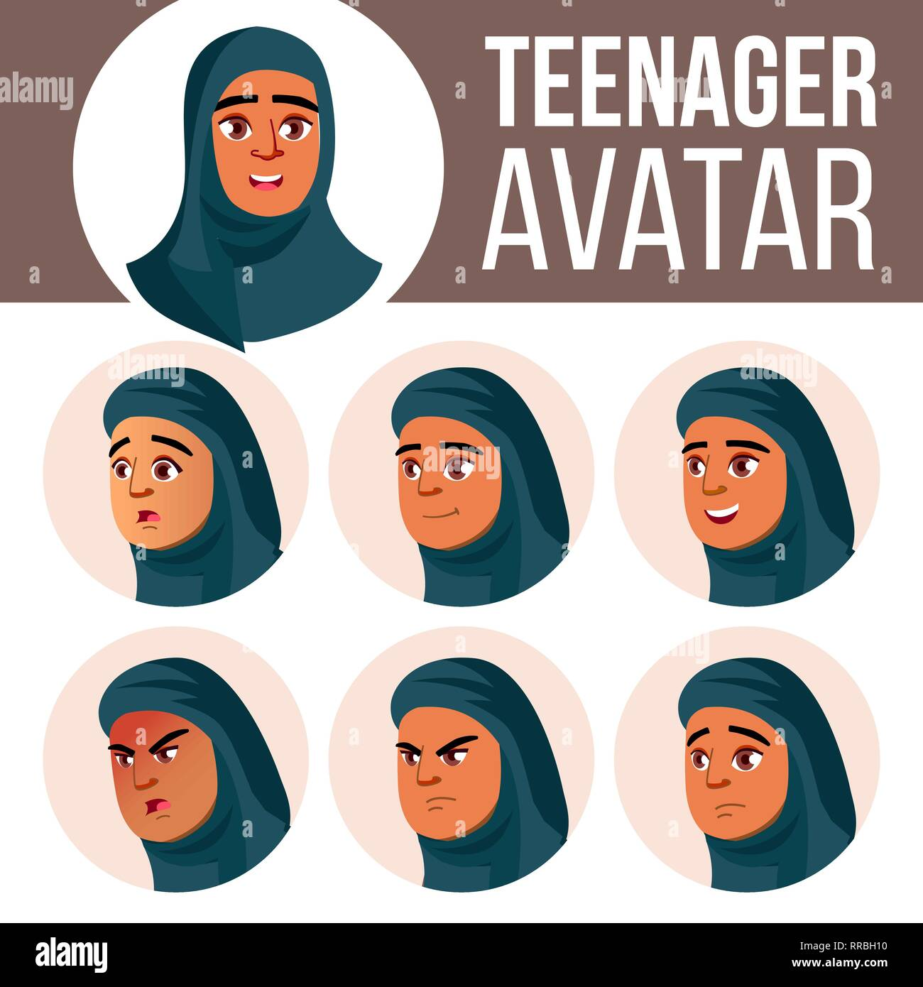 Image Main De Femme Musulmane Arabe Vecteur D Avatar Faire Face A Ses Emotions Les Enfants Belle Drole Tete Cartoon Illustration Image Vectorielle Stock Alamy
