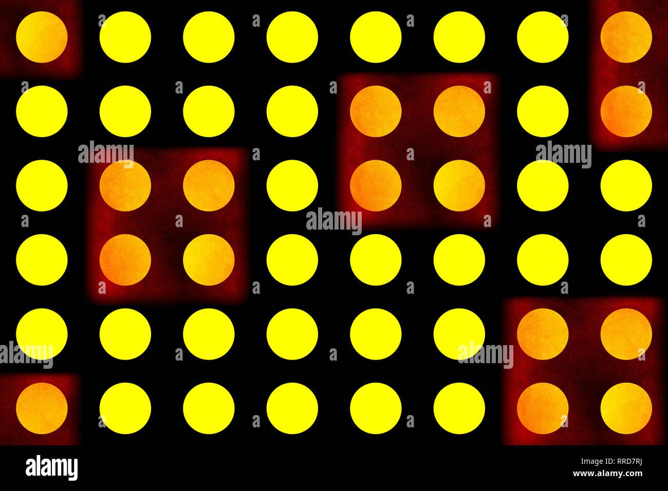 Résumé fond. L'art graphique cercles jaunes, fond noir avec des carrés rouges. Les modèles sans couture Photo Stock