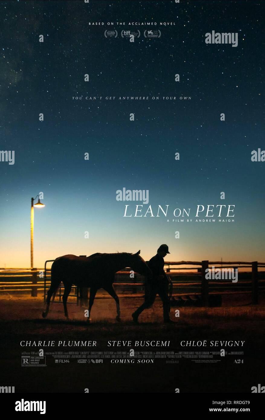 LEAN ON PETE, 2017, affiche de film Photo Stock