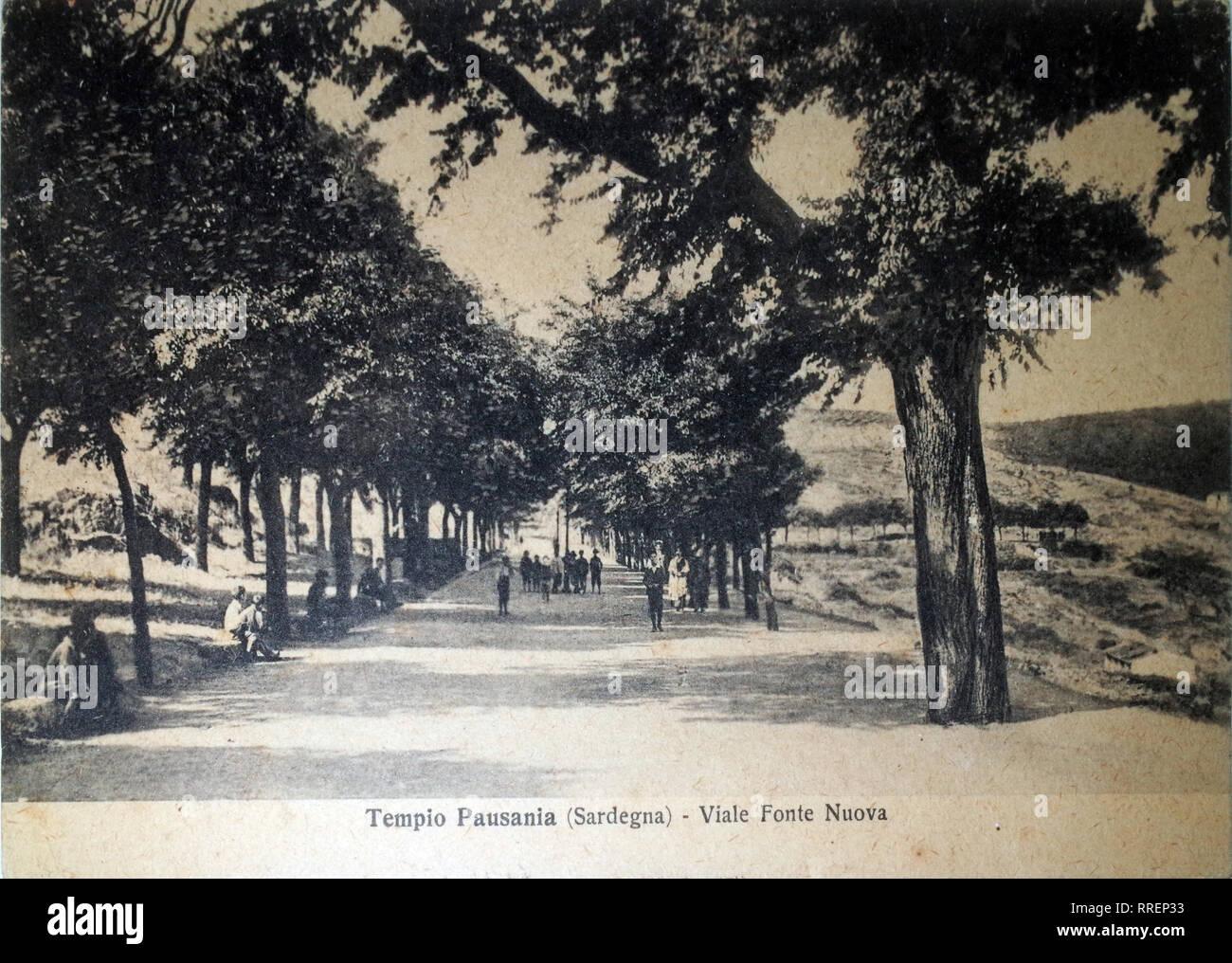 Tempio Pausania, Italie Sardaigne. Old post card 1920 sur Photo Stock