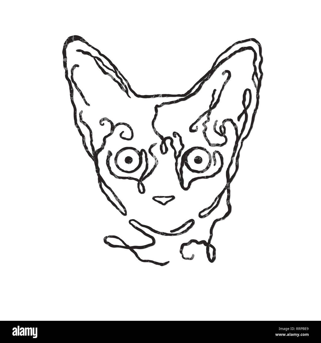 Dessin Vectoriel Illustration Ligne Simple Design Chat