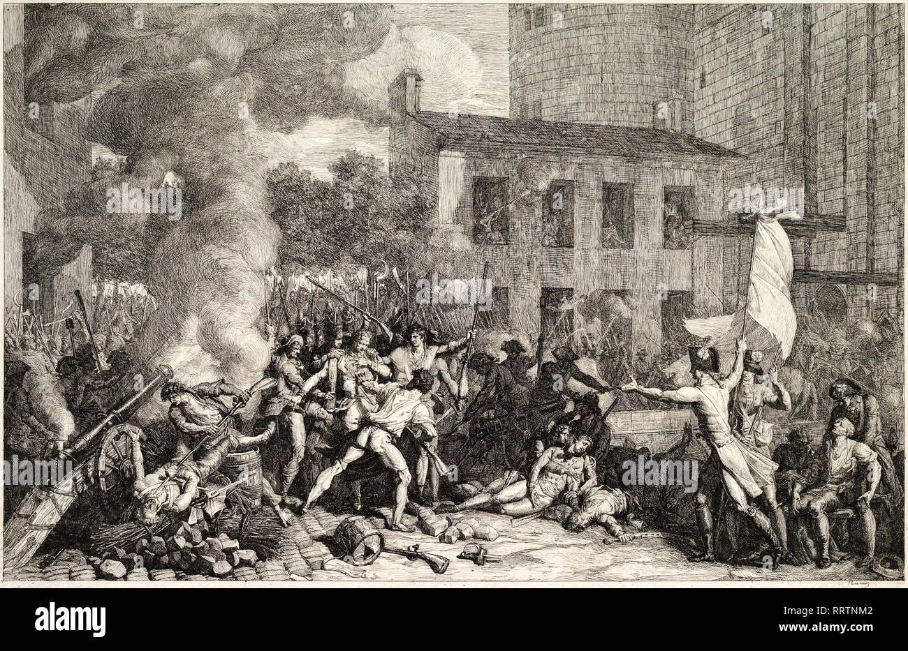 Charles Thevenin, la prise de la Bastille, le 14 juillet 1789, ch. 1793, gravure, révolution française imprimer Photo Stock