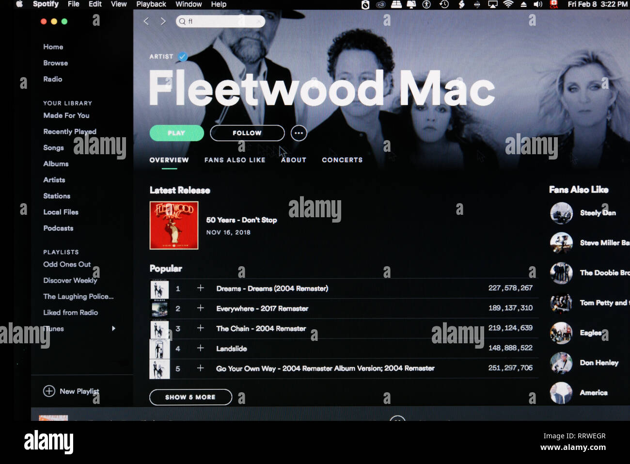Fleetwood Mac Spotify home page Photo Stock
