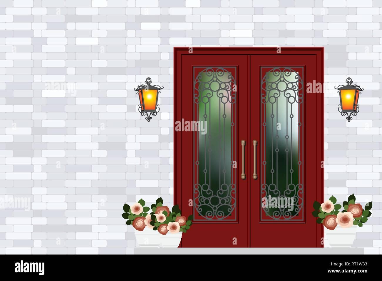 Porte D Entrée Rouge vintage rouge porte d'entrée de la maison, mur de brique