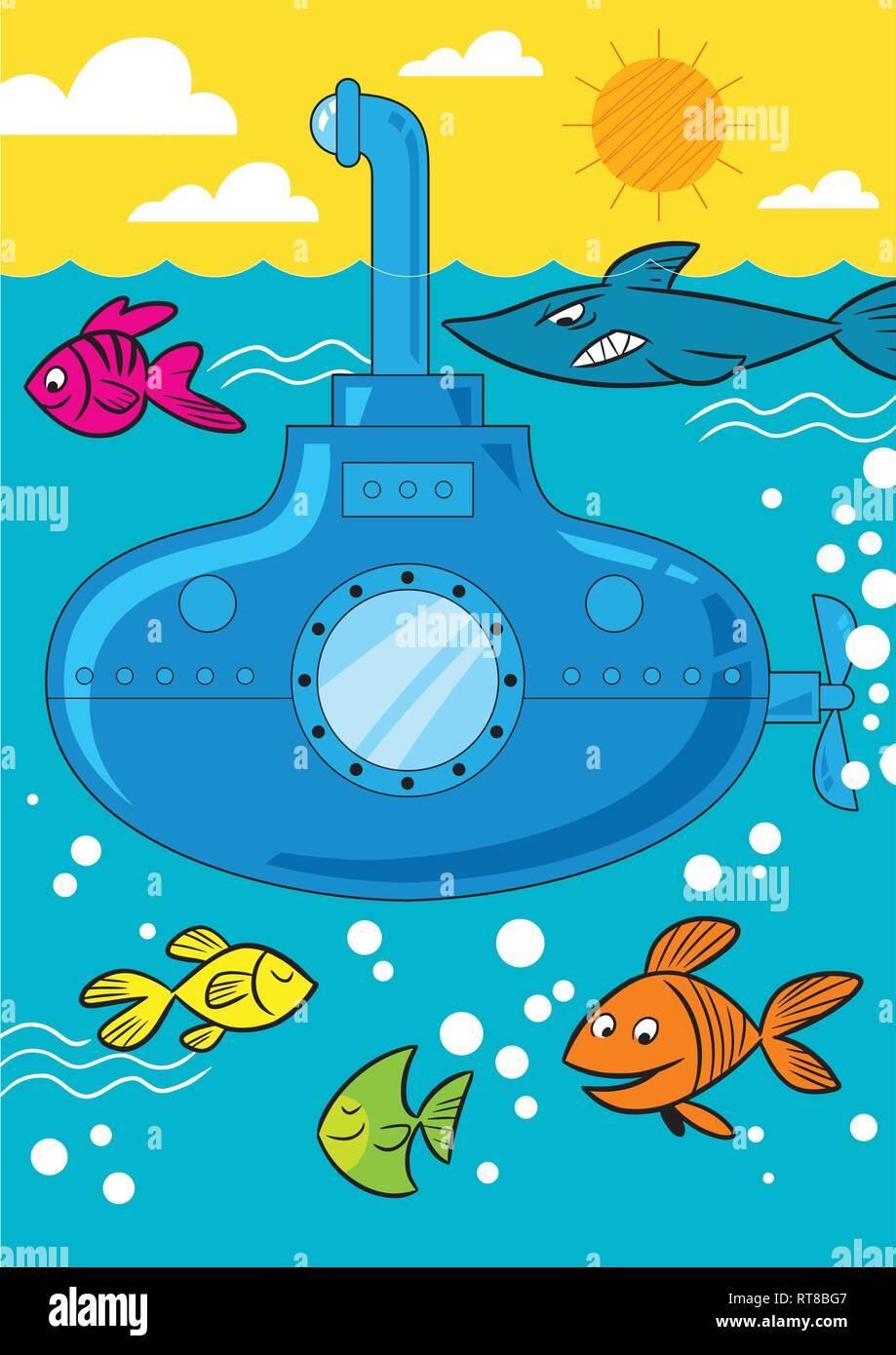Dans L Illustration Vectorielle Un Sous Marin Dessin Anime Va Au Fond De La Mer Et Le Poisson Nage Pres De Image Vectorielle Stock Alamy
