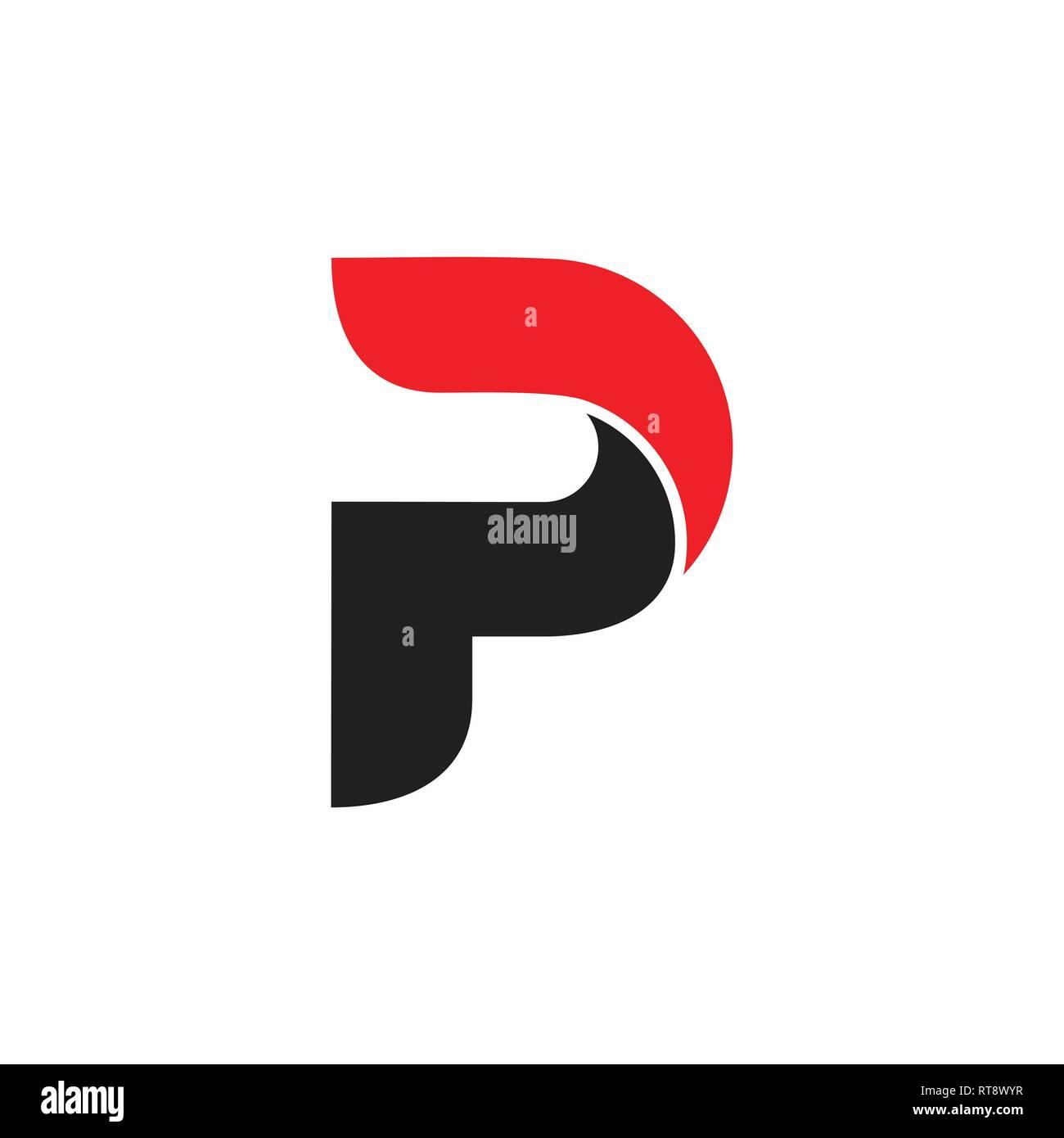Lettre p courbes simples logo 3d vector Vecteurs Et ...