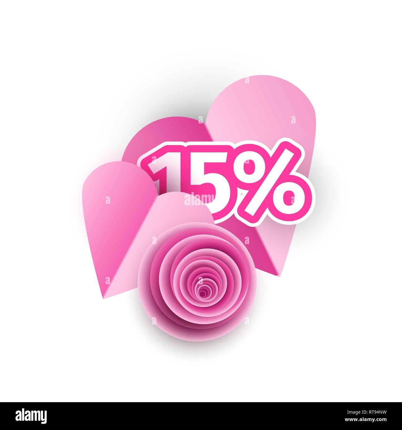 Coeur, rose bud papercut 3d illustration. Fleur Rose composition volumétrique origami isolés. Commode, clipart offre spéciale. Womens International offre Spacial, 15 pour cent de la vente d'affiches Photo Stock