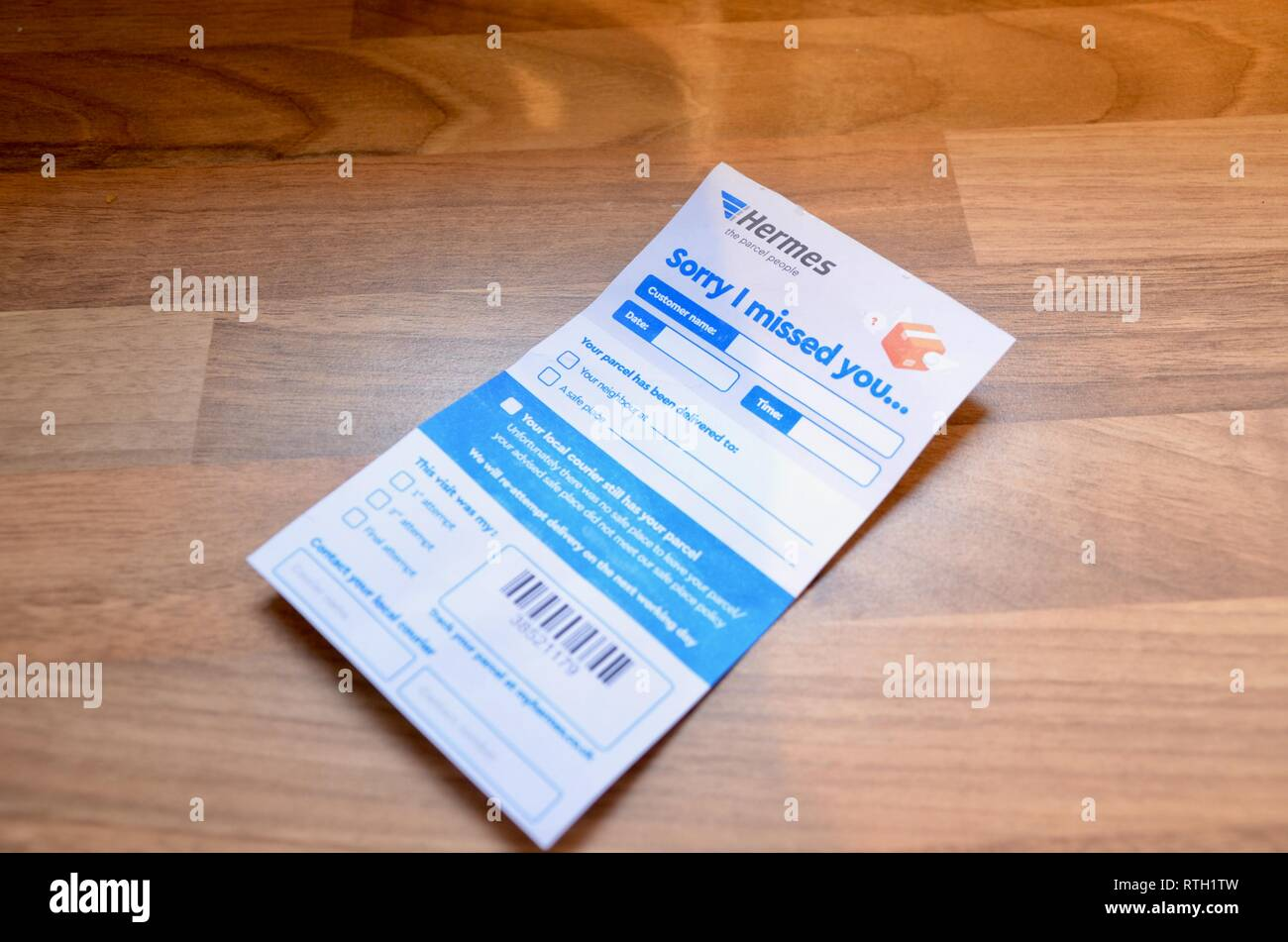 Un désolé tu m'as manqué mon hermes england Uk carte de livraison Photo Stock